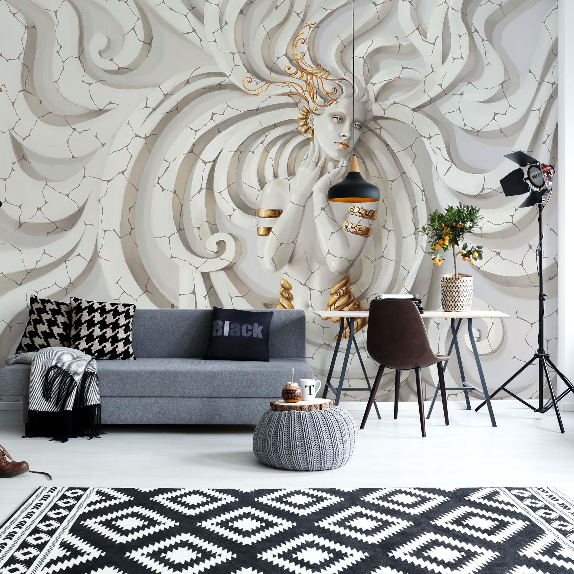 Wall Mural Wallpaper 3D Grey White Modern Living Room Photo Wallpaper 10760V8